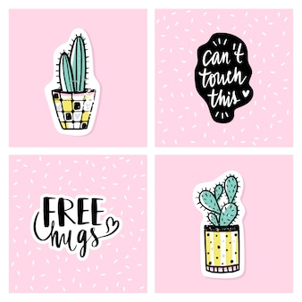 Vector set of bright cards with cactus and positive phrases.