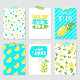 Vector set of bright summer cards. beautiful summer posters with lemon, palm leaves and hand written text. journal cards.