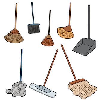 Vector set of broom and cleaning mop