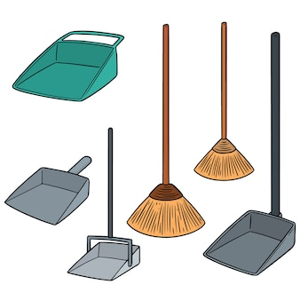 Vector set of broom and dust pan