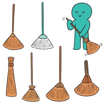 Vector set of broom
