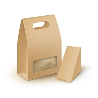 Vector set of brown blank cardboard rectangle triangle