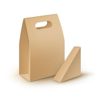 Vector set of brown blank cardboard rectangle