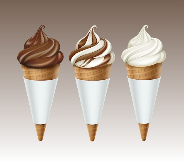 Vector set of brown white classic chocolate soft serve ice cream