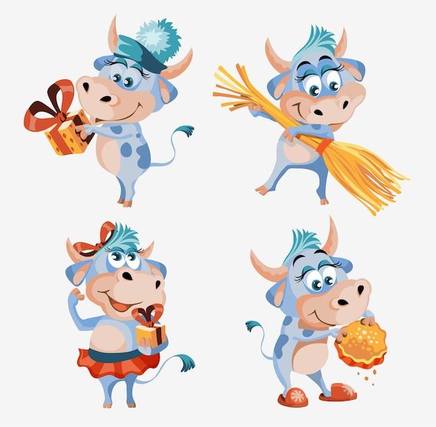 벡터 세트 황소 또는 소, 휴일 카드, 포스터 및 가정 장식을 위한 평평한 만화 동물, 흰색 배경에 격리된 행운을 위한 귀여운 캐릭터.