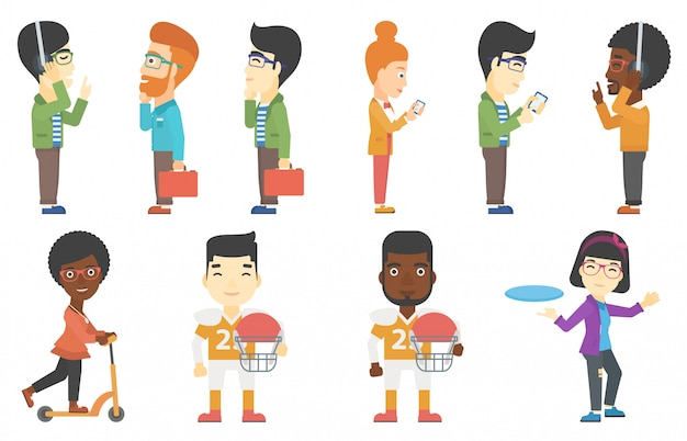 Vector set of business and sport characters.