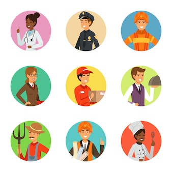 Vector set of businessman in different action poses with accessories. funny characters businessman person in different pose, vector illustration