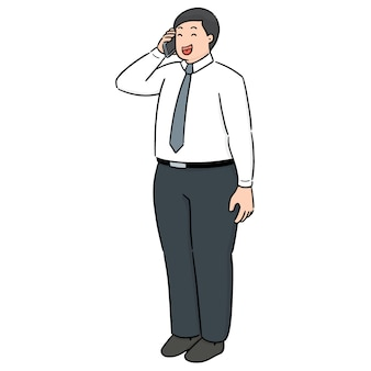 Vector set of businessman using smartphone
