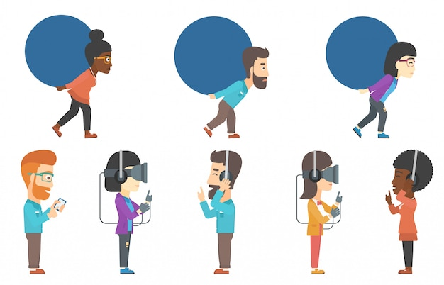 Vector set of businessmen and people in vr headset