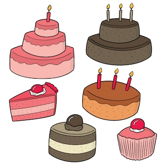 Vector set of cakes