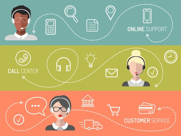 Vector set of call center, customer service, online support banners in trendy flat style.