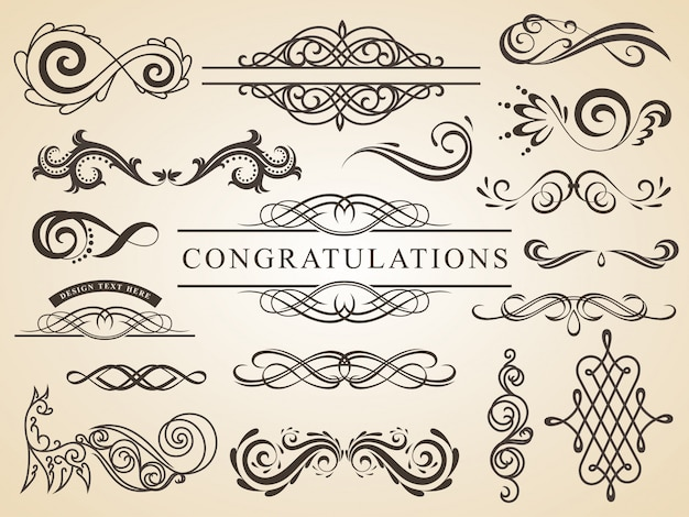 Vector set of calligraphic design wedding elements page decoration