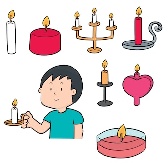 Vector set of candle