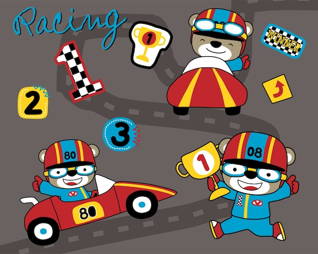 Vector set of car racing cartoon with funny racer