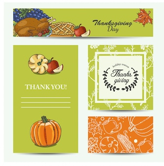 Vector set of cards thanksgiving day