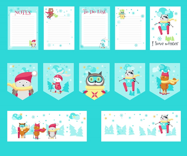Vector set of cards with cute skiing animals