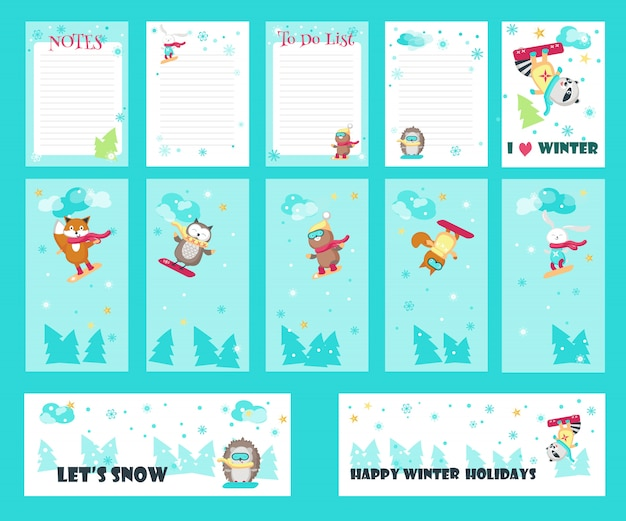 Vector set of cards with cute snowboarding animals