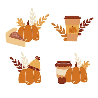 Vector set of cards with handdrawn images of pumpkin food and coffee