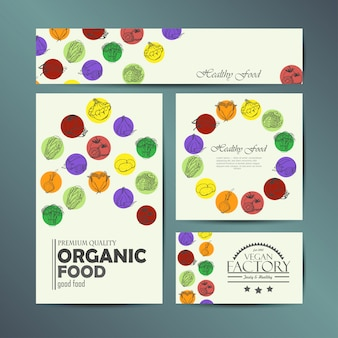 Vector set of cards with  vegetables