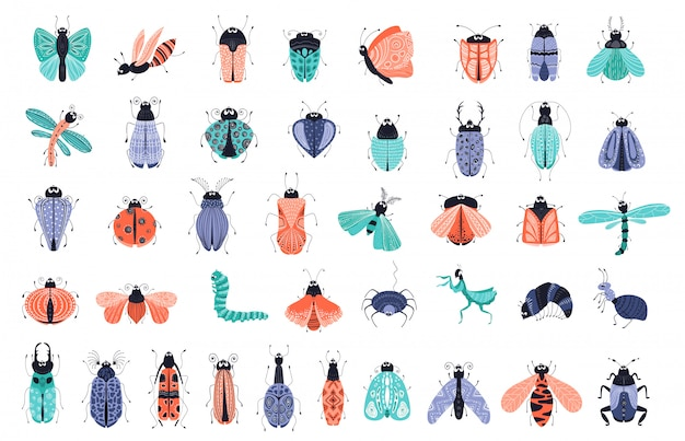 Vector set - cartoon bugs or beetles, butterflies icons