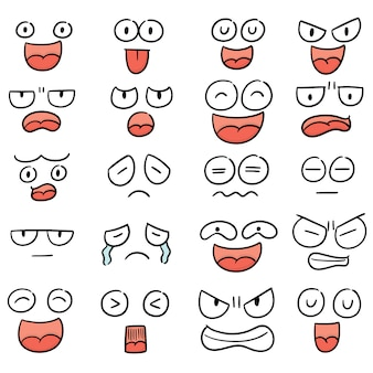 Vector set of cartoon face