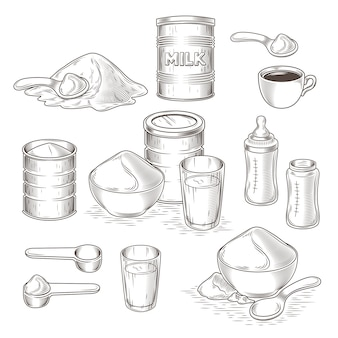 Vector set of cartoon illustration of milk powder