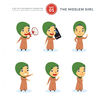 Vector set of cartoon images of moslem girl. first set. isolated