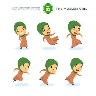 Vector set of cartoon images of moslem girl. second set. isolated