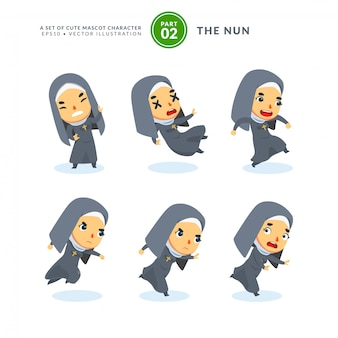 Vector set of cartoon images of a nun. second set. isolated
