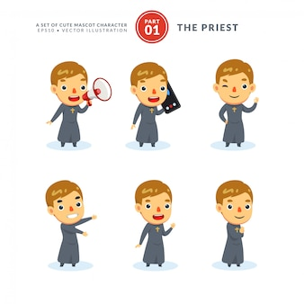 Vector set of cartoon images of a priest. first set. isolated