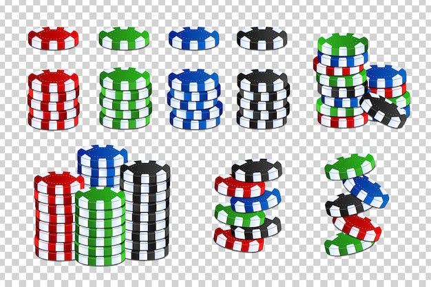 Vector set of cartoon isolated casino chips for decoration and covering on the transparent space. concept of gambling, poker and game of chance.