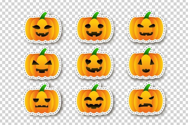 Vector set of cartoon isolated pumpkin stickers for template decoration and covering