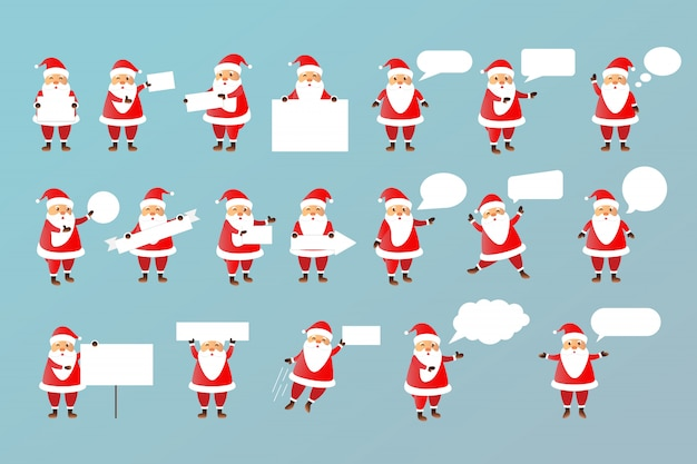 Vector set of cartoon isolated santa claus character with white blank paper templates and speech bubbles for decoration and covering on the bright space.