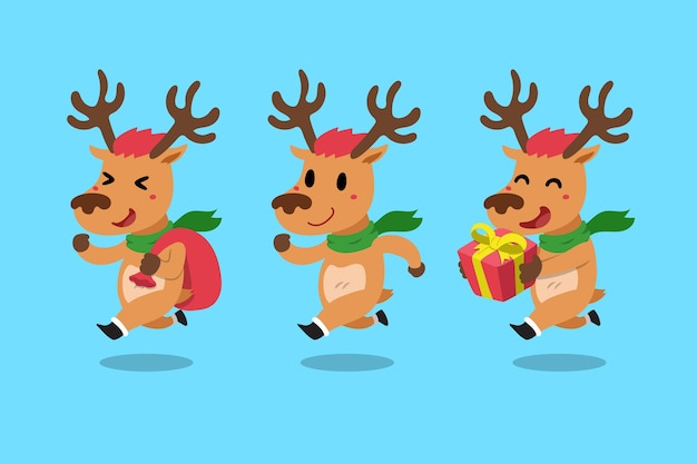 Vector set of cartoon reindeer