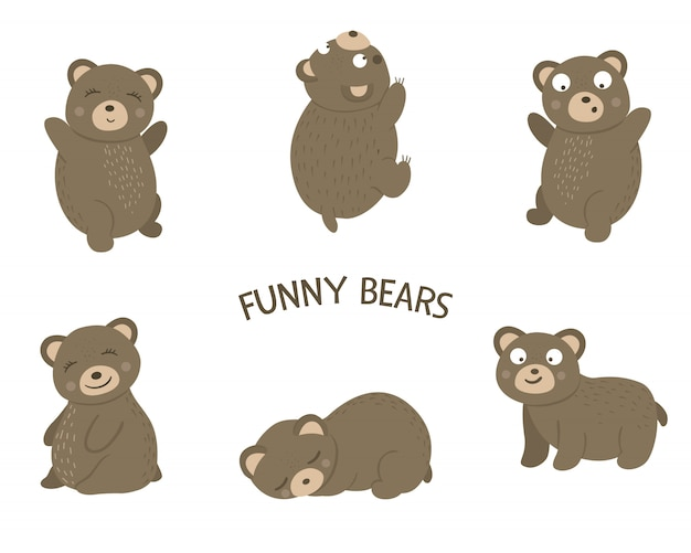 Vector set of cartoon style flat funny bears in different poses. cute illustration of woodland animals