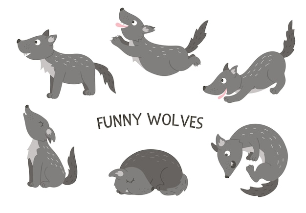 Vector set of cartoon style hand drawn flat funny wolves in different poses. cute illustration of woodland animals