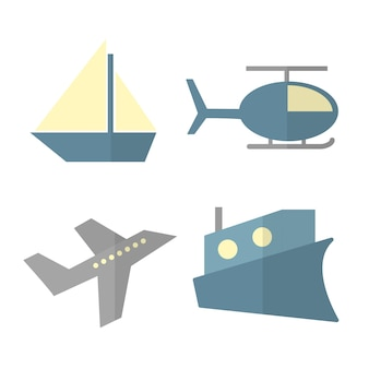 Vector set of cartoon transport isolated on white - ship, helicopter, airplane, steamer
