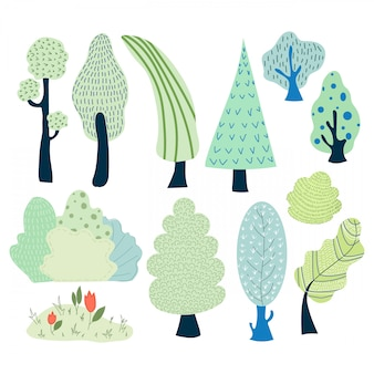 Vector set of cartoon trees and bushes in the park