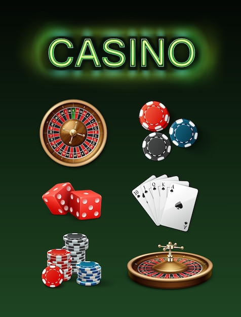 Vector set of casino gambling attributes poker roulette wheel, blue, black chips, red dice, royal straight flush and neon signboard top side view isolated on green background