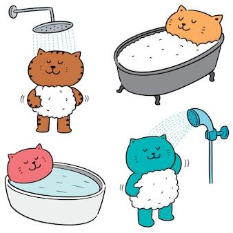 Vector set of cat bathing