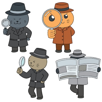 Vector set of cat detective