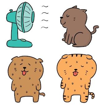 Vector set of cat in hot weather