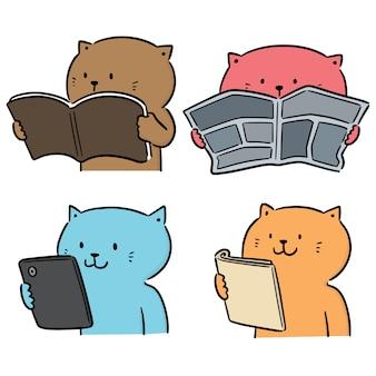 Vector set of cat reading