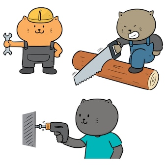Vector set of cat use construction tool