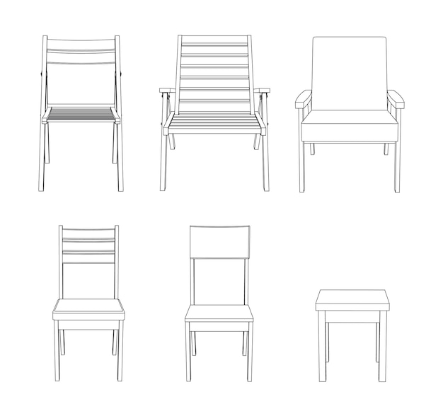 Vector set of chairs front view outline illustration
