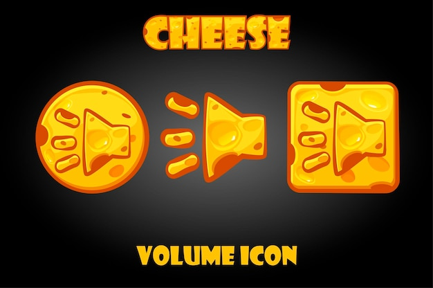 Vector set of cheese buttons volume for the game.