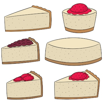 Vector set of cheese cake