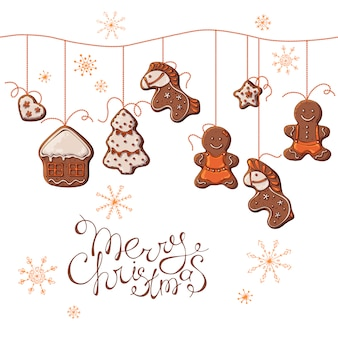 Vector set of christmas gingerbreads hanging on beads.