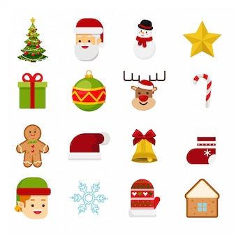 Vector set of christmas icon isolated on white background
