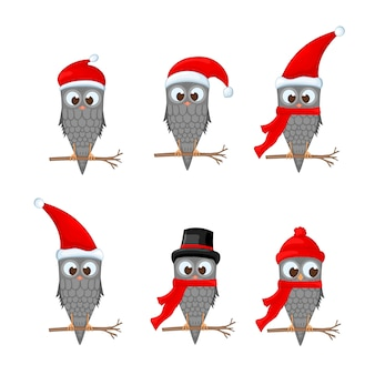 Vector set of christmas owls with various emotions